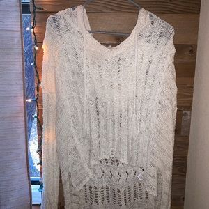 Altard State off the shoulder hooded knit sweater